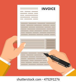 Payment of taxes concept. One hand hold tax form and other hold pen. Flat vector illustration.