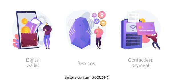 Payment technology abstract concept vector illustration set. Digital wallet, beacons, contactless payment, digital banking tool, money transfer, personalized marketing, paypass abstract metaphor.