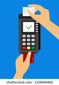 Payment terminal. Concept One hand pushes the card into the terminal while the other hand picks up the check.
