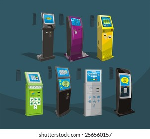 Payment terminal, Digital touch screen, interactive kiosk, vector design