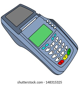 payment terminal, illustration