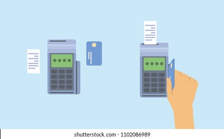 Payment terminal with plastic credit card in service. POS machine with card in customer's hand and customer receipt. Flat vector illustration. Isolated.