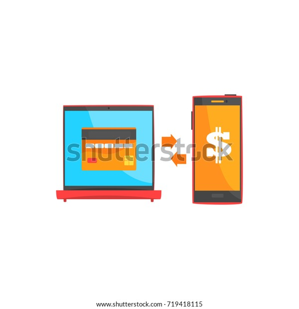 Payment transaction with smartphone and laptop, online shopping, internet banking  cartoon vector illustration