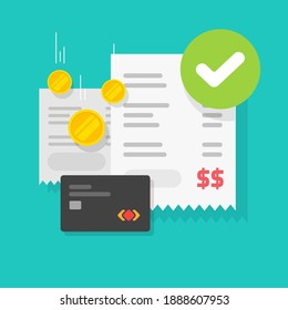 Payment transaction success approved check mark notice on receipt bill invoice via credit bank card vector flat cartoon icon, completed money transfer,valid verified checkmark on successful paid