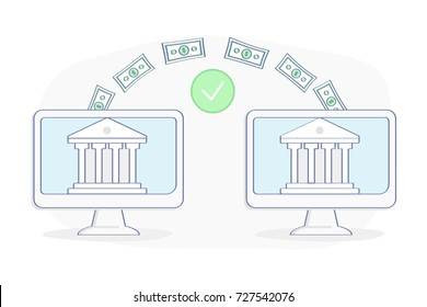 Payment Transfer Money between two banks, companies, accounts. Sending and Receiving money, Transaction, Savings, Investment. Flat outline vector illustration design. Business concept.
