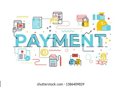 Payment word lettering illustration with icons for web banner, flyer, landing page, presentation, book cover, article, etc.