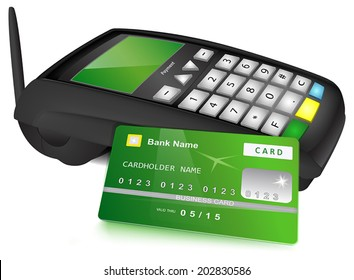 Payments concept: Modern wireless POS terminal and bank card with green design near it. Vector illustration, isolated on white background.