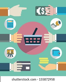 Payments and sales. Flat concept of business with hands - vector  illustration