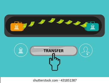 Payout or Payment Transfer Concept. Editable Clip Art
