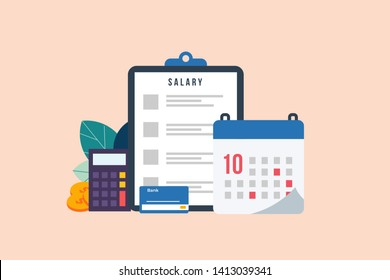 Payroll, salary payment administrative, accountant calculating payment check, Expenses, salary calculation vector illustration concept for web landing page template, banner, flyer