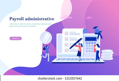 Payroll, salary payment administrative vector illustration concept, women accountant calculating payment check, can use for, landing page, template, ui, web, mobile app, poster, banner, flyer
