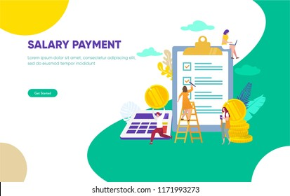 Payroll, Salary payment, happy people get his salary vector illustration concept, can use for, landing page, template, ui, web, mobile app, poster, banner, flyer
