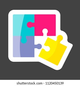 Pazzle color colored sticker icon. Multicolored pazzle vector icon. Layers grouped for easy editing illustration.  For your design.