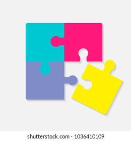 Pazzle color icon. Multicolored pazzle vector icon.