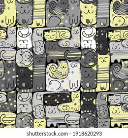 Pazzle with funny cats. Cats House. Seamless Pattern for your design. Vector illustration