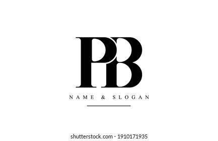 PB BP abstract vector logo monogram template