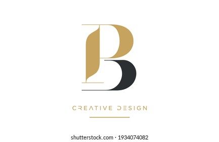 PB or BP Alphabet Letters Abstract Icon logo Monogram