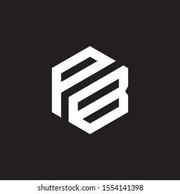 PB OR BP MONOGRAM STYLE UNIQUE VECTOR WHITE LOGO