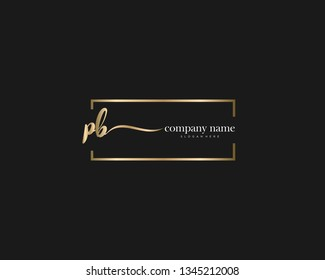 PB Initial handwriting logo vector. Hand lettering for designs.
