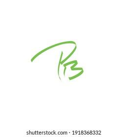 PB initial handwritten calligraphy, for monogram and logo