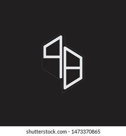 PB Initial Letters logo monogram with up to down style isolated on black background
