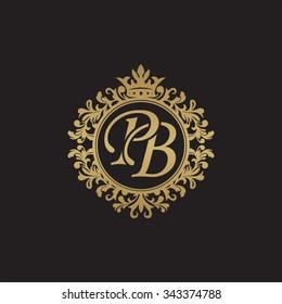PB initial luxury ornament monogram logo