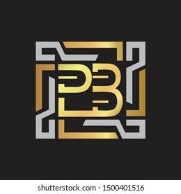 PB Letter logo initial capital monogram with abstract ornament