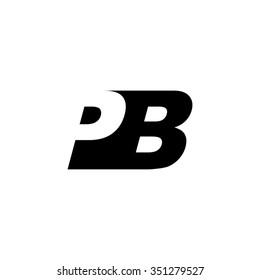 PB negative space letter logo