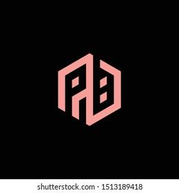 PB or P B letter alphabet logo design in vector format.