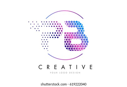 PB P B Pink Magenta Dotted Bubble Letter Logo Design. Dots Lettering Vector Illustration