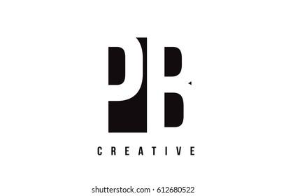 PB P B White Letter Logo Design with Black Square Vector Illustration Template.