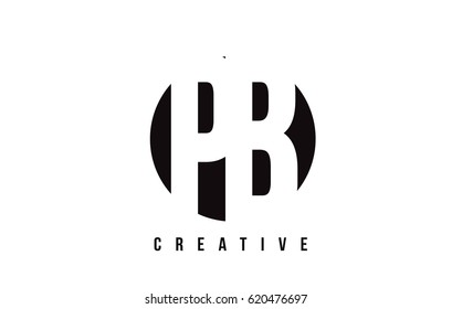 PB P B White Letter Logo Design with Circle Background Vector Illustration Template.