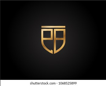 PB shield shape Letter Design in gold color