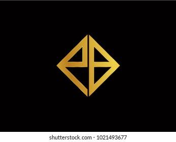 PB square shape Gold color logo