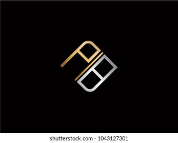 PB square shape Letter logo Design in silver gold color