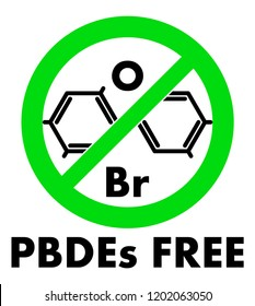PBDEs free icon. Polybrominated diphenyl ethers chemical molecule and letters Br and O (chemical symbols for Bromine and Oxygen) in green crossed circle, with text under.