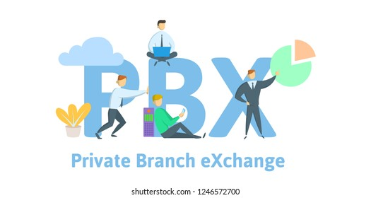 PBX, private branch exchange. Concept with keywords, letters and icons. Colored flat vector illustration on white background.