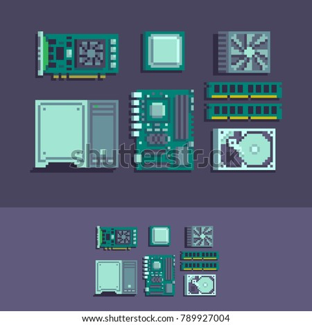 PC components pixel art vector set.