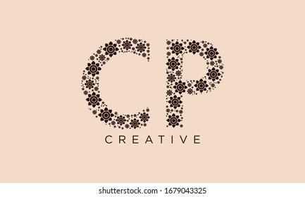PC CP abstract vector logo monogram template