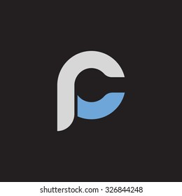 pc, cp initial overlapping rounded letter logo