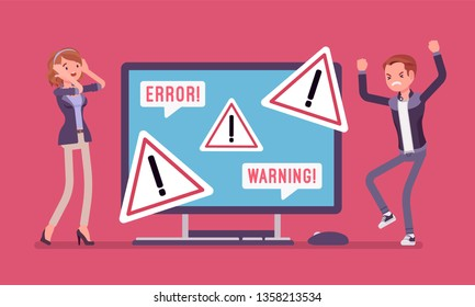 PC error and warnings for users. Angry male and female clients near monitor indicating potential hazard, attention symbol, urgent information displayed on device alerts of problem. Vector illustration