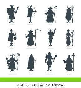PC game classes silhouettes set. Role-playing image. Realistic body proportions. Vector simple style clipart illustration isolated on white background. Armed male heroes standing in costumes, posing.
