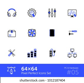 PC & Hardware icons. Pixel Perfect icons 64x64.
