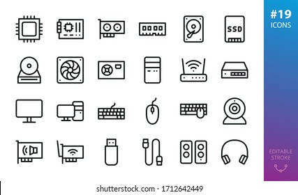 PC Hardware isolated icons set. Set of CPU, motherboard, video graphics card, RAM, HDD, SSD, PC case, wifi router, ethernet switch, desktop computer, mouse, keyboard, webcam  outline vector icon