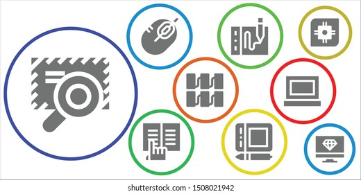 pc icon set. 9 filled pc icons.  Simple modern icons about  - Browser, Mouse, Drawing tablet, Ebook, Graphic tablet, Server, Laptop, Cpu, Computer