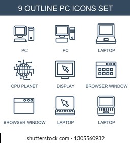 pc icons. Trendy 9 pc icons. Contain icons such as laptop, CPU planet, display, browser window. pc icon for web and mobile.
