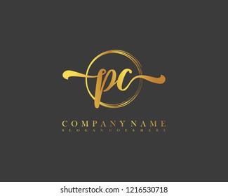 PC initial handwriting logo circle template vector