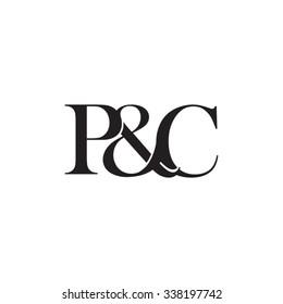 P&C Initial logo. Ampersand monogram logo