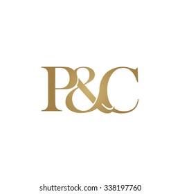 P&C Initial logo. Ampersand monogram golden logo