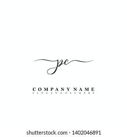 PC Initial luxury handwriting logo vector